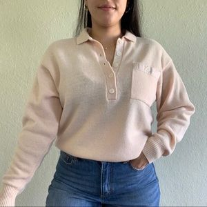Vintage Liz Sport lambswool knit collared sweater